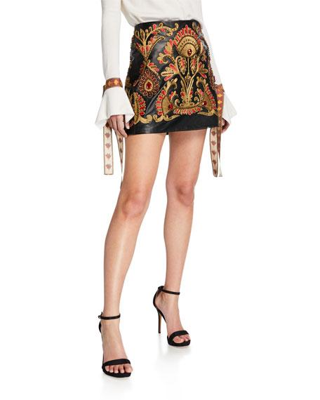 Oscar de la Renta Golden-Embroidered Leather Party Skirt