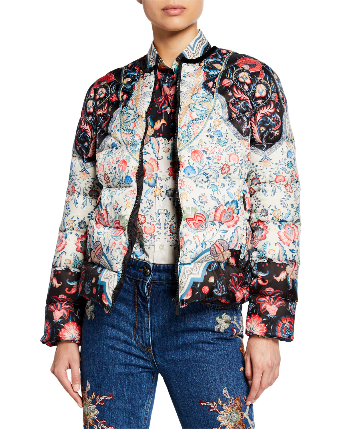 Quilted Short Puffer Jacket by Etro