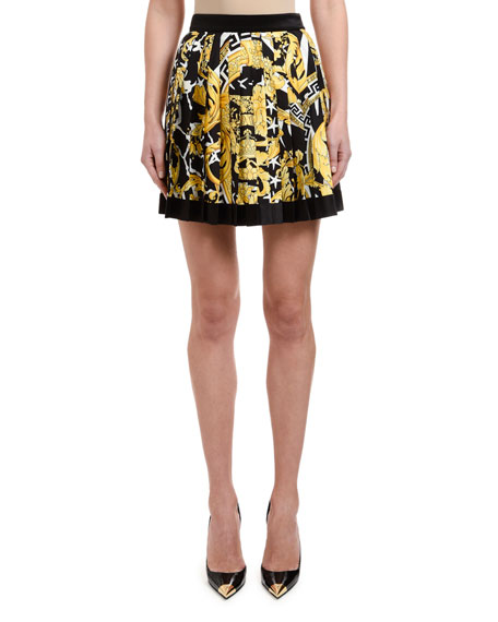 Versace Brocade-Print Box-Pleated Mini Skirt