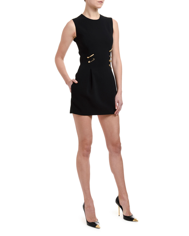 9b3dc6eb2673 Versace Sleeveless Safety-Pin Trim Cocktail Dress   Neiman Marcus