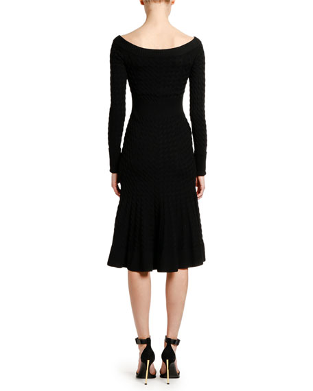 Image 2 of 3: Alexander McQueen Off-the-Shoulder Cable Knit Midi Dress
