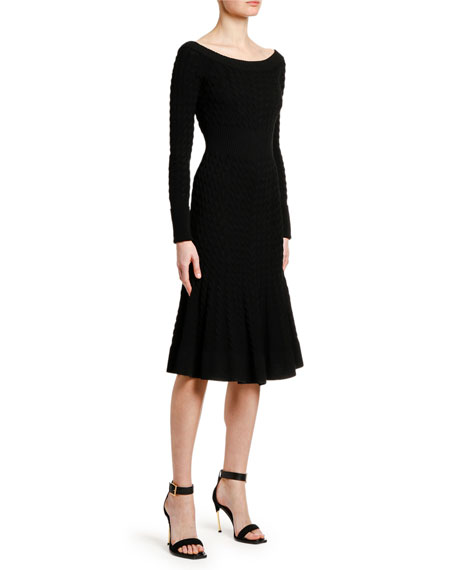 Image 3 of 3: Alexander McQueen Off-the-Shoulder Cable Knit Midi Dress