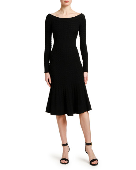 Image 1 of 3: Alexander McQueen Off-the-Shoulder Cable Knit Midi Dress