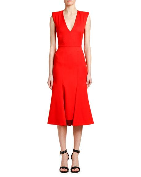 Alexander McQueen Sleeveless Grain de Poudre Dress