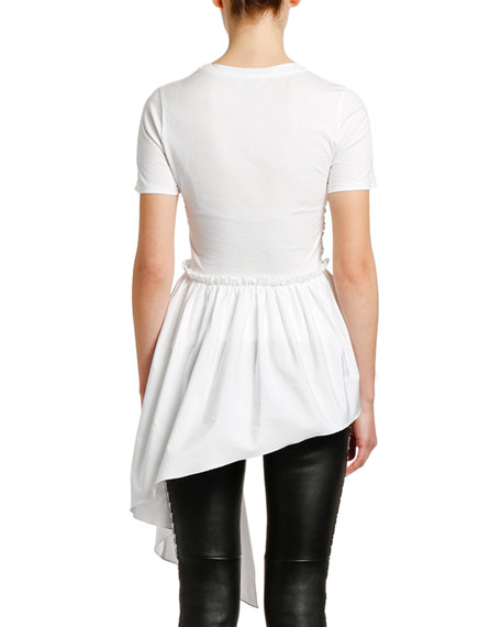 Alexander McQueen Ruffled Front Draped Cotton Jersey T-shirt