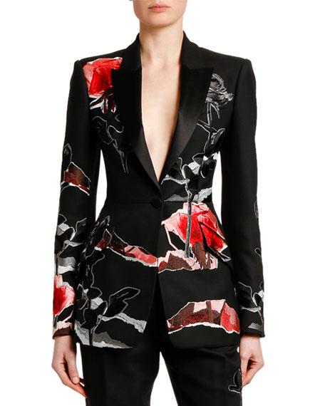 Alexander Mcqueen Jackets Rose-Embroidered Lightweight Wool-Silk Jacket