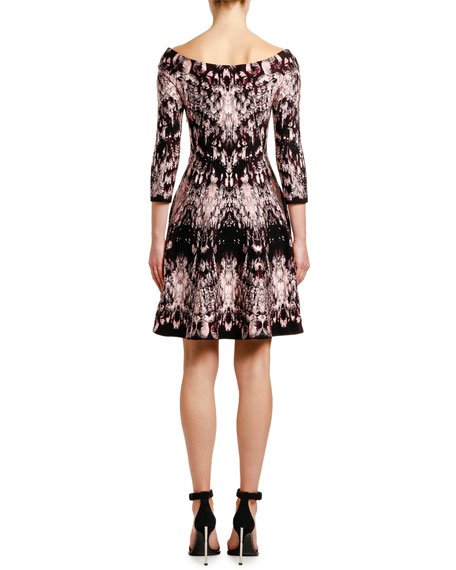 Alexander McQueen Off-the-Shoulder Crystal-Jacquard Cocktail Dress