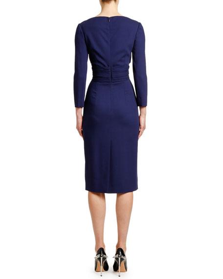 Alexander McQueen Bracelet-Sleeve V-Neck Crepe Dress