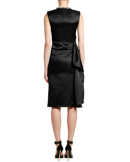 Alexander McQueen Wrapped Satin Jeweled Neck Cocktail Dress