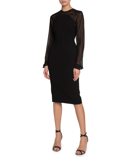Victoria Beckham Sheer-Sleeve Crepe Illusion Dress