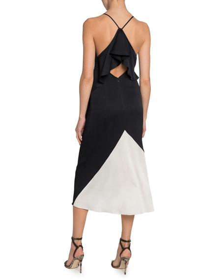Victoria Beckham Silk Seersucker Asymmetric Dress