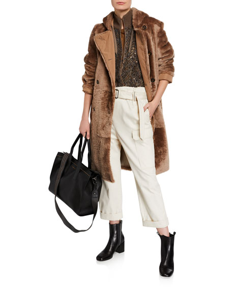 Brunello Cucinelli Shearling Leather-Lined Double-Breasted Coat