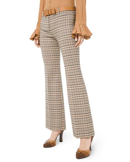 Michael Kors Collection Plaid Stretch Cropped Flare Leg Trousers