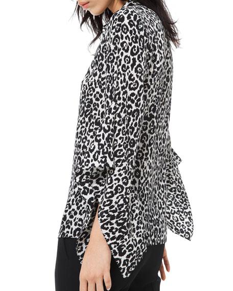 Michael Kors Collection Cheetah-Print Crushed Bell-Sleeve Shirt