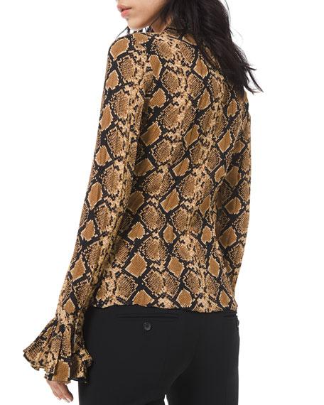 Michael Kors Collection Python-Print Crushed Bell-Sleeve Shirt