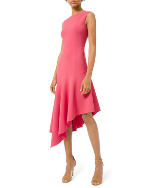 6cd86f4ff3d Michael Kors Collection Crewneck Crepe Asymmetric Dress