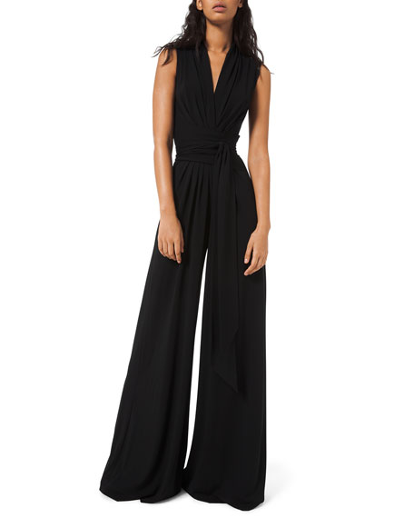 Michael Kors Collection Wrapped Jersey Palazzo Jumpsuit