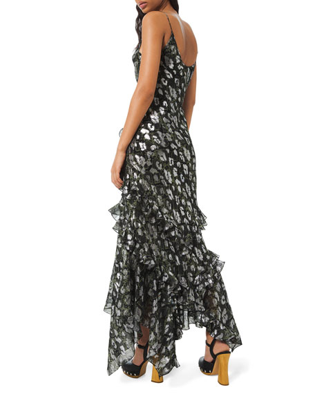 Michael Kors Collection Python-Print Metallic Chiffon Dress