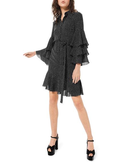 Michael Kors Collection Polka-Dot Tiered Bell-Sleeve Shirtdress
