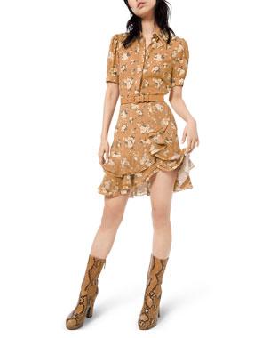 Michael Kors Collection Short-Sleeve Ruffled Floral-Silk Shirtdress w/ Belt