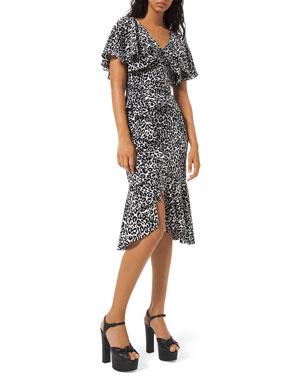 Michael Kors Collection Leopard-Print Cape-Sleeve Dress