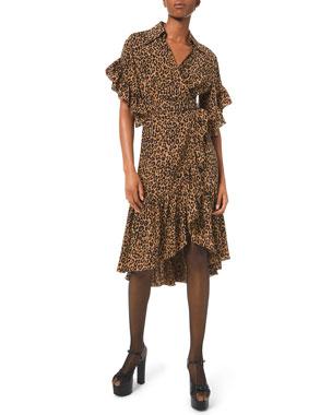dcd2e16bd77 Michael Kors Collection Belted Leopard-Print Ruffle-Wrap Dress