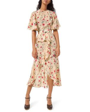 Michael Kors Collection Cascading Flutter Sleeve Dress
