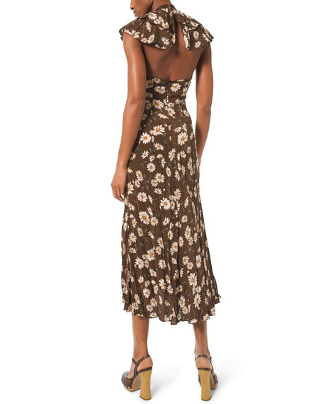 Michael Kors Collection Daisy-Print Crushed Ruffle Dress