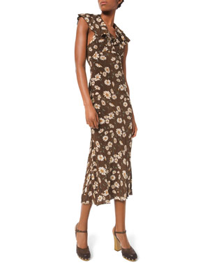 Michael Kors Collection Daisy-Print Crushed Ruffle Dress