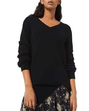 Michael Kors Collection Cashmere Draped Asymmetric V-Neck Sweater