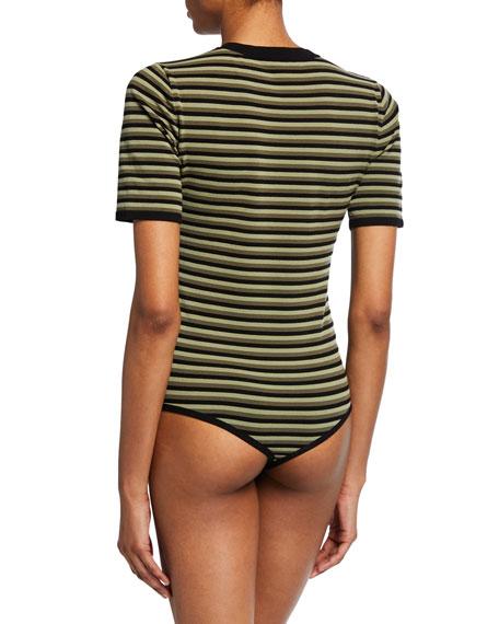 Michael Kors Collection Short-Sleeve Striped Bodysuit