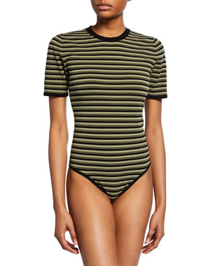 df34902930f Michael Kors Collection Short-Sleeve Striped Bodysuit