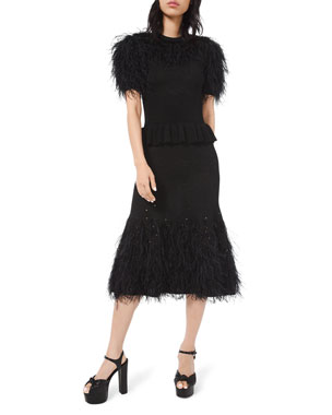 Michael Kors Collection Feather-Trim Knit Cocktail Dress