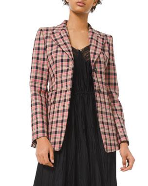 Michael Kors Collection Bold Plaid Wool Blazer