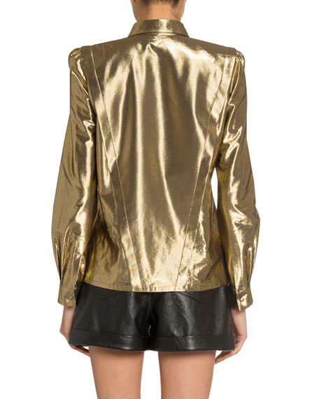 Image 2 of 3: Saint Laurent Golden Lame Asymmetric Button-Front Shirt