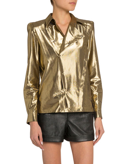 Image 3 of 3: Saint Laurent Golden Lame Asymmetric Button-Front Shirt