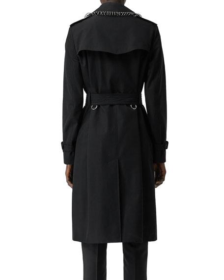 Burberry Kensington Punk-Ring Trim Cotton Trench Coat