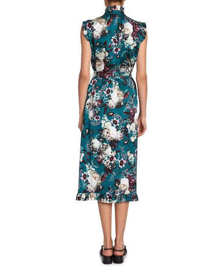 Erdem Sebla Ruffle Print Midi Sheath Dress