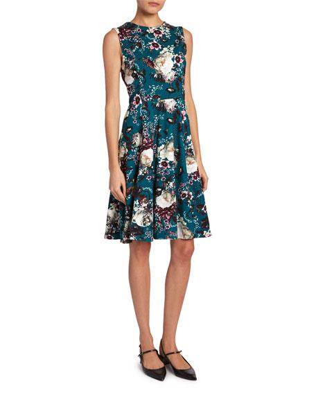 Erdem Dylanne Floral Crewneck Dress