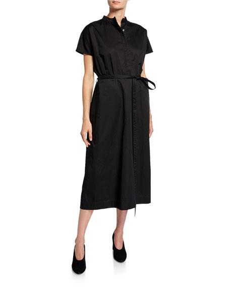 Co Button-Front Cap-Sleeve Cotton Poplin Midi Dress