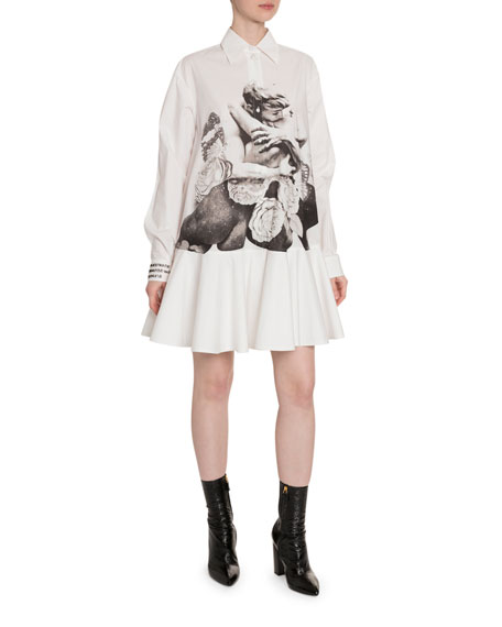 Valentino Lovers-Print Cotton Button-Front Shirtdress