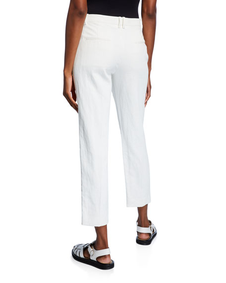THE ROW Clark Linen Slim-Leg Ankle Pants
