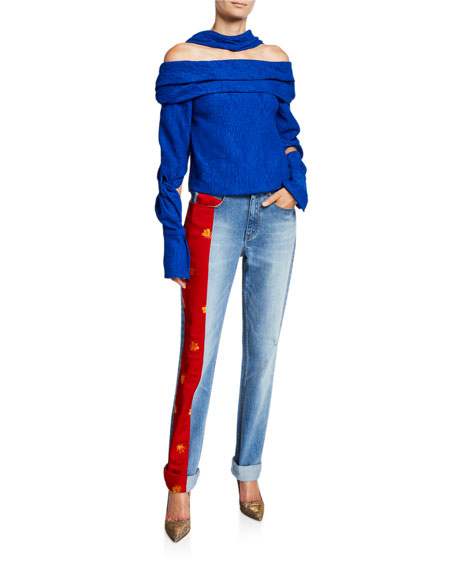 Hellessy Lili Bee-Embroidered Charmeuse Panel Jeans