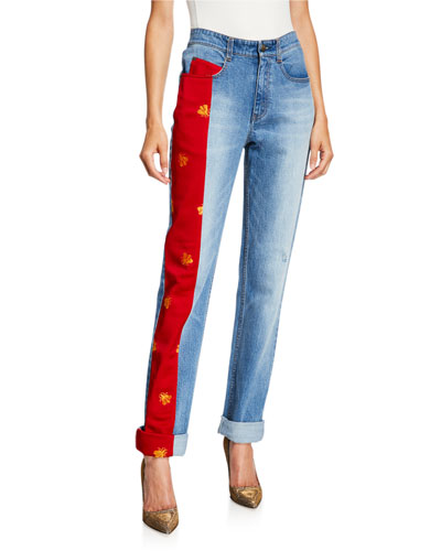 Lili Bee-Embroidered Charmeuse Panel Jeans