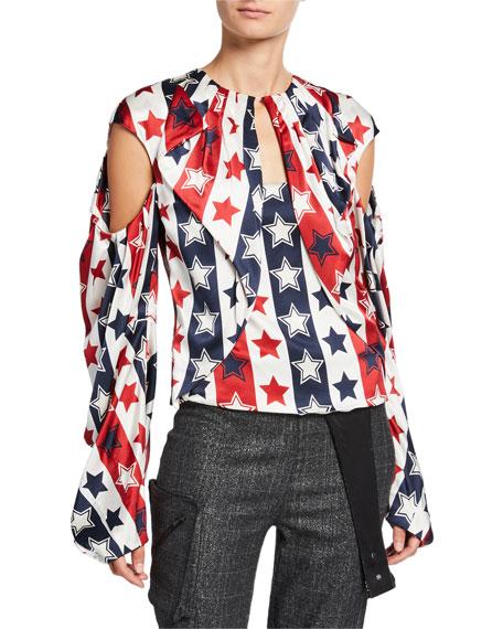 Hellessy Sasha Star-Print Draped Front Blouse