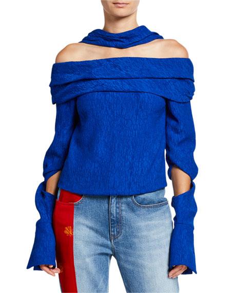 Hellessy Bianca Off-the-Shoulder Plisse Blouse