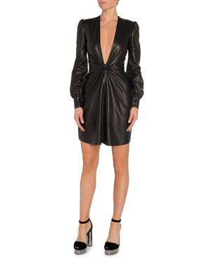 878283e8a66 TOM FORD Deep V-Neck Leather Cocktail Dress