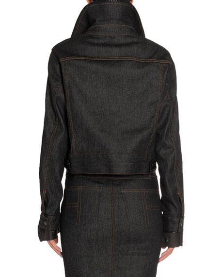 TOM FORD Leather-Trim Denim Aviator Jacket