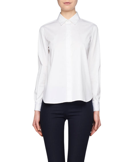 THE ROW Yssetra Slim Button-Front Cotton Shirt