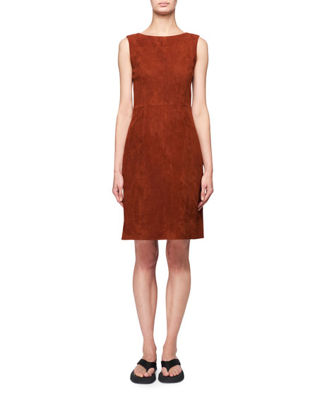 Image 1 of 2: THE ROW Hara Sleeveless Suede Dress